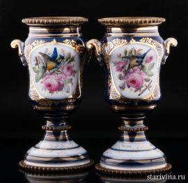 Пара декоративных ваз Птицы, Франция, 19 век., артикул 01130