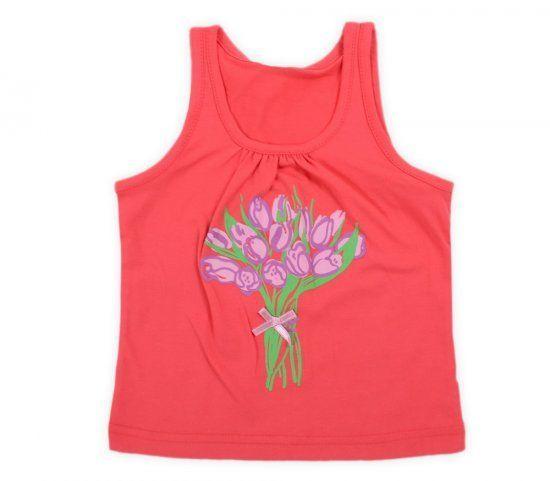 Красная майка для девочки Цветы