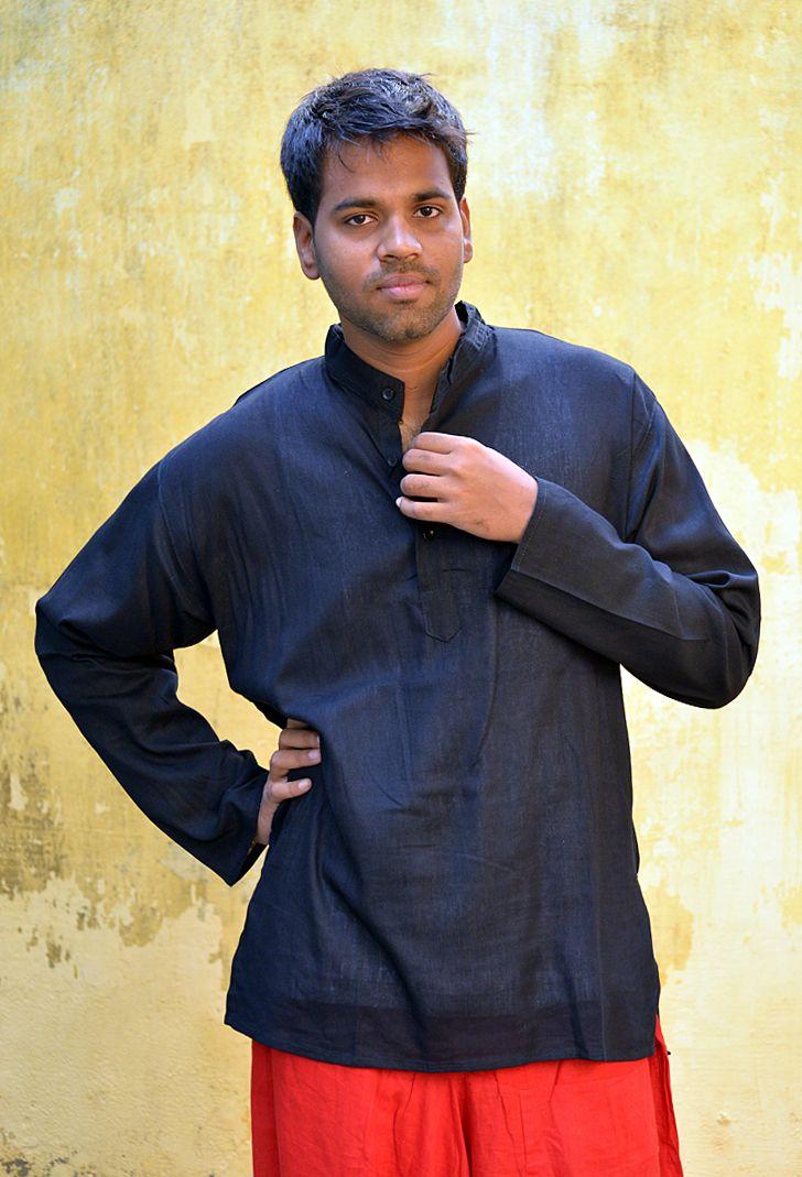 Черная мужская рубашка из хлопка (отправка из Индии)