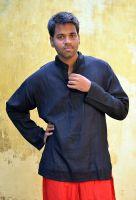 Однотонная черная мужская рубашка из хлопка, недорого. Индийский интернет магазин, Москва