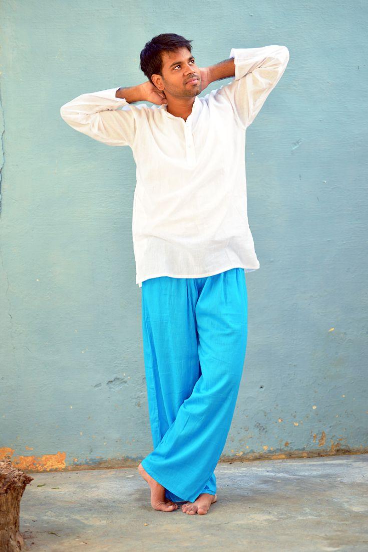 Белая летняя мужская рубашка из однотонного хлопка (отправка из Индии)