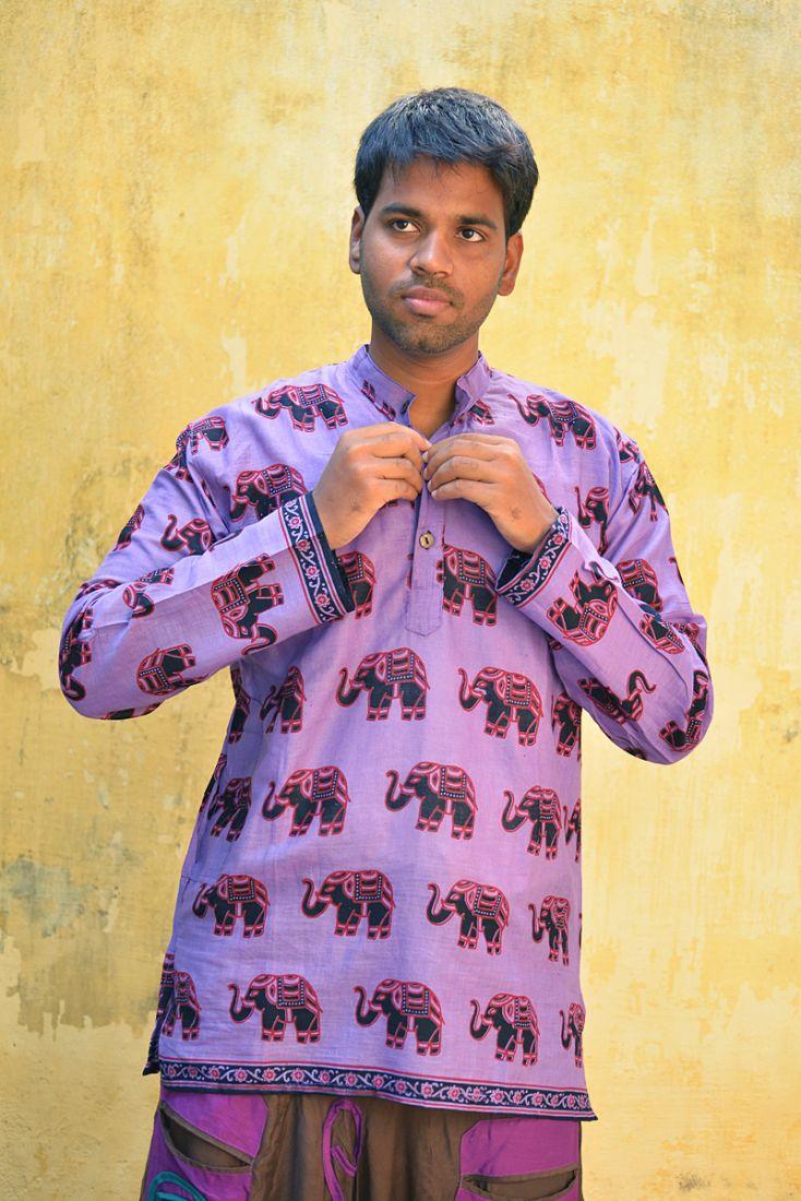 Фиолетовая мужская индийская рубашка со слонами (отправка из Индии)