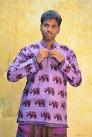 Мужская фиолетовая индийская рубашка со слонами