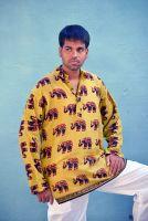Мужская оливковая индийская рубашка со слонами