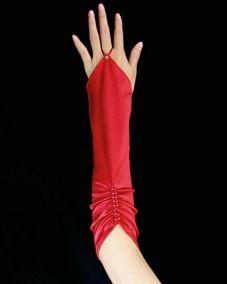 Красные перчатки по локоть со сборкой на один палец