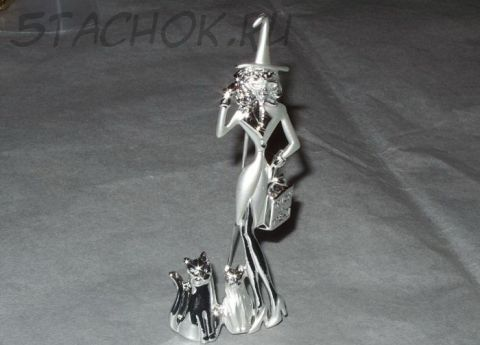"Брошь ""Дамочка и коты на Хэллоуин"" (AJC США)"