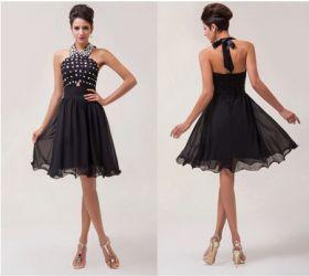 Черное коктейльное платье на шнуровке