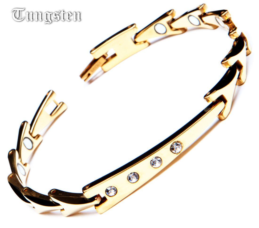 Женский магнитный браслет с цирконами