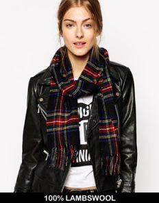 теплый шотландский шарф 100% шерсть , расцветка королевский клан Стюартов (черный вариант) STEWART BLACK