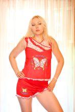 "Ночной костюм пижама ""Бабочка"" красная"