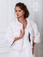 Жакет из белой норки с вышивкой. Образец. Возможен пошив