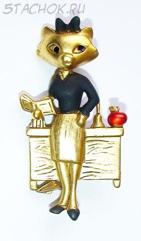 """Брошь """"Кошечка-учительница"""" под матовое золото, эмаль"""