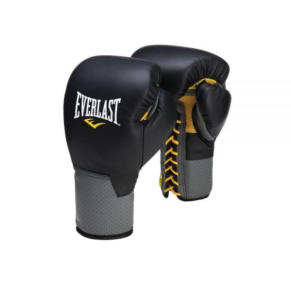 Перчатки тренировочные Everlast на шнуровке Pro Leather Laced, 16 унц., черные, артикул 591601