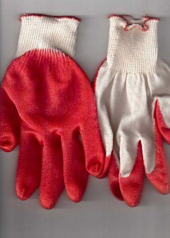 перчатки рабочие хб 13 класс с одинарным латексным покрытием красные