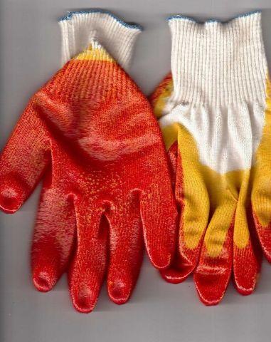 перчатки рабочие хб 13 класс с двойным латексным покрытием супер люкс красные