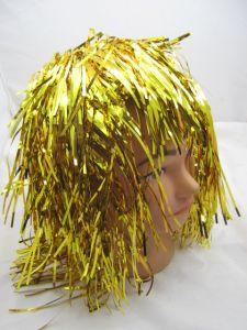 Парик блестящий желтый