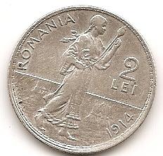 Крестьянка 2 лея Румыния 1914 серебро