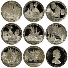 Жизнь Горацио Нельсона Набор монет. Острова Кука 1 доллар, 2007 год. (8 шт.)