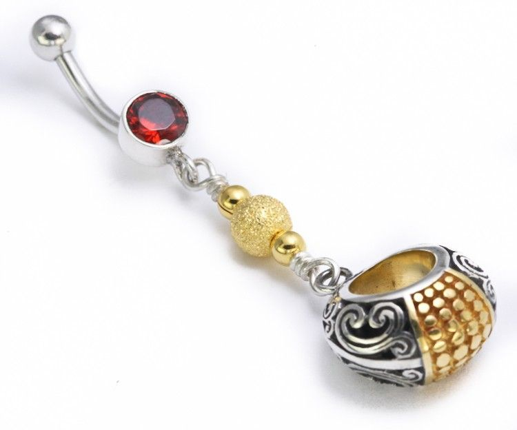 "Украшение в пупок 14g 7/16"" Dangle Gold N' Silver Bali"