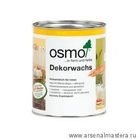 Цветное масло для древесины Osmo Dekorwachs Intensive Tone 3186 Белое матовое, 0,75л