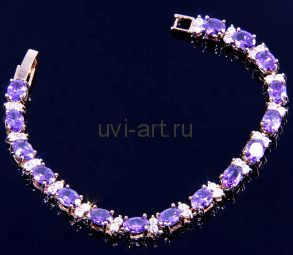 Позолоченный браслет с аметистами и искусственными бриллиантами