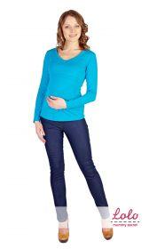 Блуза для беременных и кормящих мам с V-вырезом Лазурная бирюза