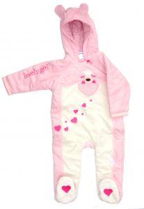 розовый ясельный комбинезон для девочки на синтепоне