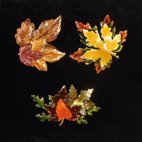 """Три броши """"Осенние листья"""" под золото/эмаль"""