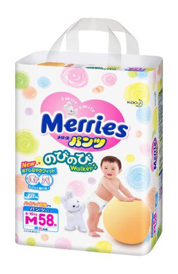 MERRIES Трусики-подгузники для детей размер M 6-10 кг, 58 шт.