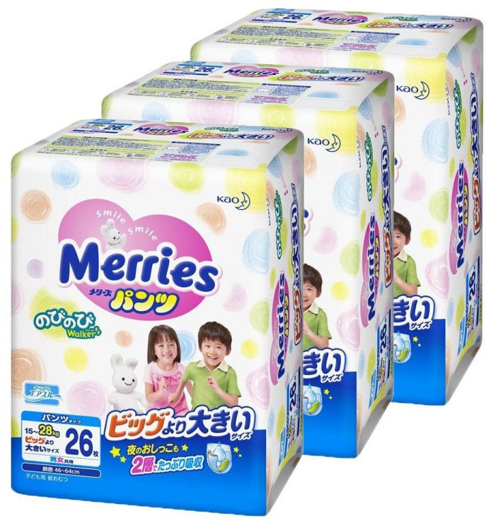 MERRIES Трусики-подгузники для детей размер XXL 15-28 кг, 26 шт.