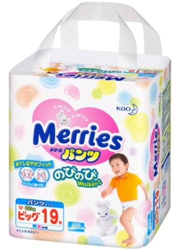 MERRIES Трусики-подгузники для детей размер XL 12-22 кг, 19 шт.