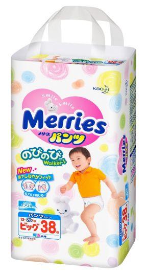 MERRIES Трусики-подгузники для детей размер XL 12-22 кг, 38 шт.