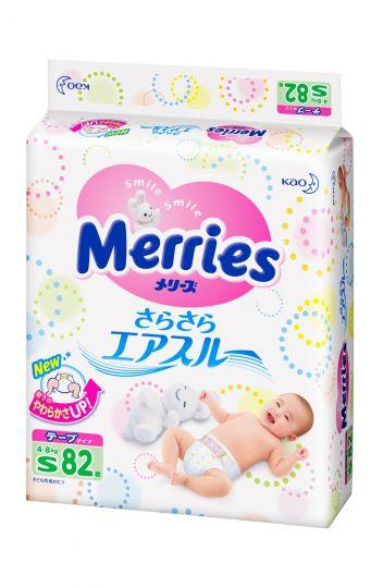 MERRIES Подгузники для детей размер S 4-8 кг, 82 шт.
