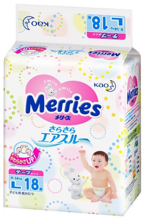MERRIES Подгузники для детей размер L 9-14 кг, 18 шт.
