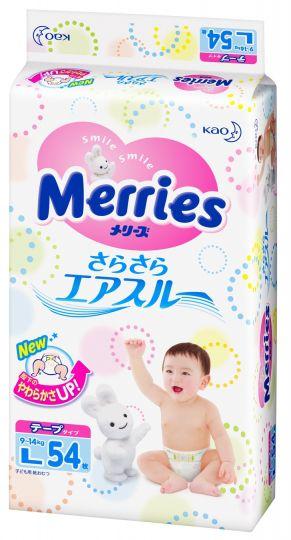 MERRIES Подгузники для детей размер L 9-14 кг, 54 шт.