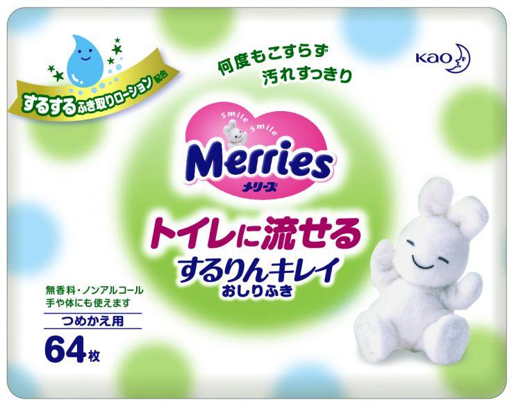 MERRIES Детские влажные салфетки Flushable, запасной блок 64 шт.