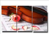 Модульная картина Цветок и скрипка