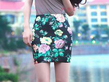 Юбка стретч с цветами