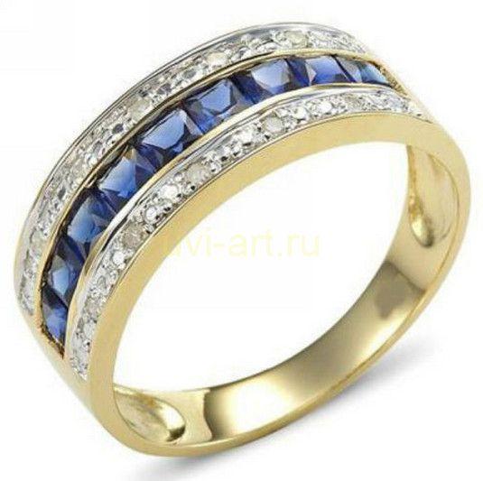 Позолоченное кольцо с сапфирами и цирконами (арт. 801118)
