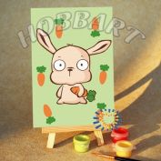 "Картина по номерам ""Зайчик с морковкой"""