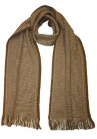модный вязаный шотландский  шарф Zig Zag Beige Беж, плотность 7
