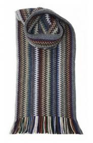 модный вязаный шотландский  шарф Zig Zag Cappuccino Зигзаг Капучино, плотность 7