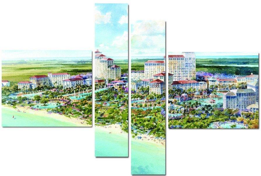 Модульная картина Город и пальмы