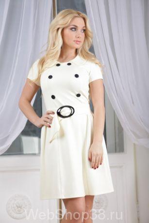 Ванильное платье с коротким рукавом