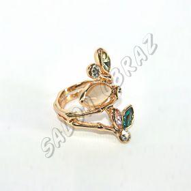 Кольцо с кошачьим глазом и зелёным кристаллом КО-061