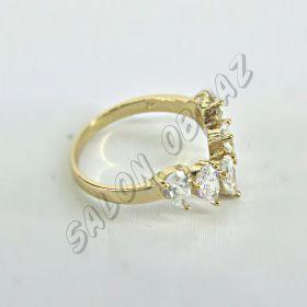 """Кольцо """"под золото"""" с прозрачным кристаллом КО-086"""