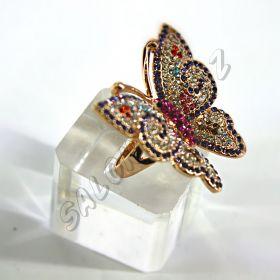 Кольцо в форме бабочки, инкрустация кристаллами КО-075