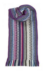 модный яркий вязаный шотландский  шарф Zig Zag Зигзаг Серебро -, плотность 7