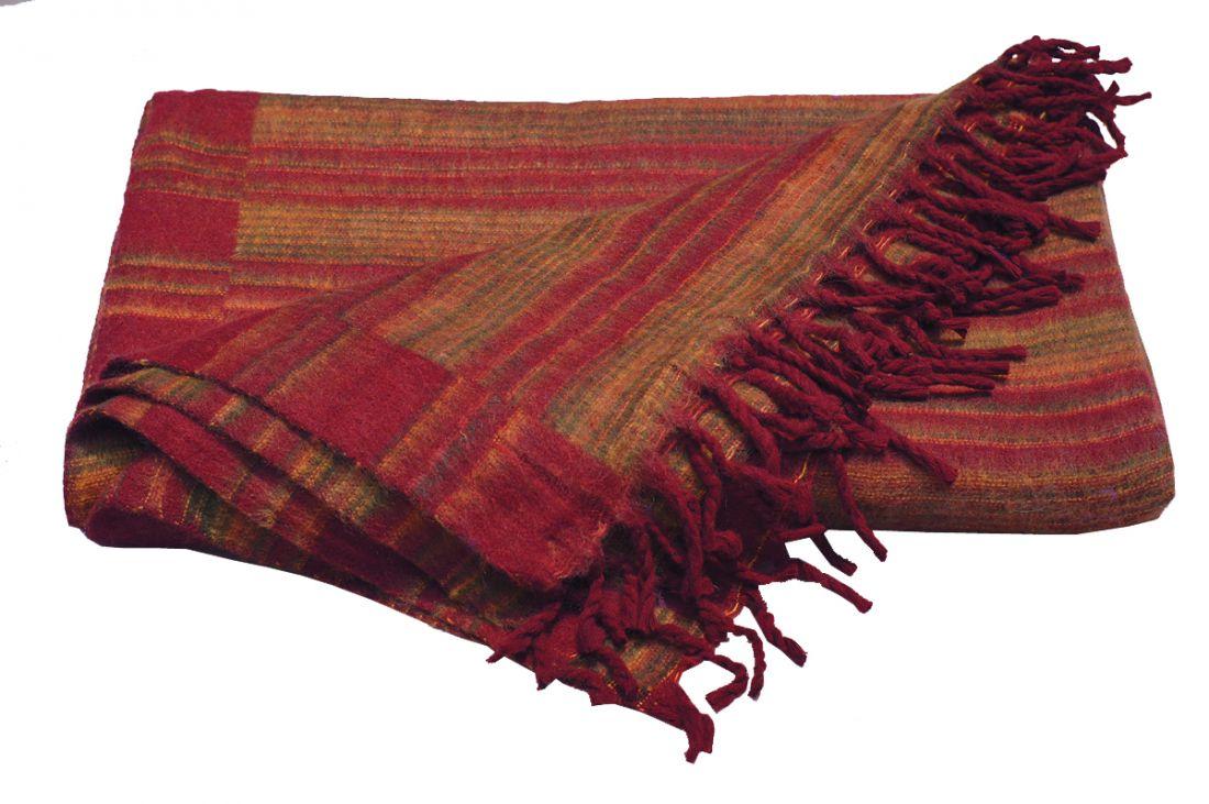 Тёмно-красный шерстяной плед (отправка из Индии)