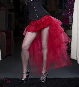 Красная многоуровневая юбка - Рыбий хвост